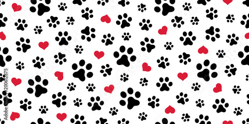 fototapeta na ścianę Dog Paw Seamless pattern vector heart isolated scarf valentine wallpaper background