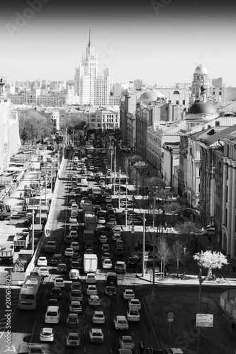 Moscow view from Lubyanka Square traffic jam background - 200614825