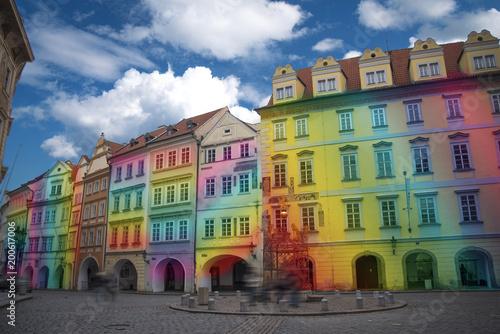 Poster Praag multicolored rainbow houses.