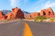 Road through the  Valley of Fire State Park, Nevada, United States.