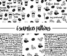 Set of coffee seamless patterns.