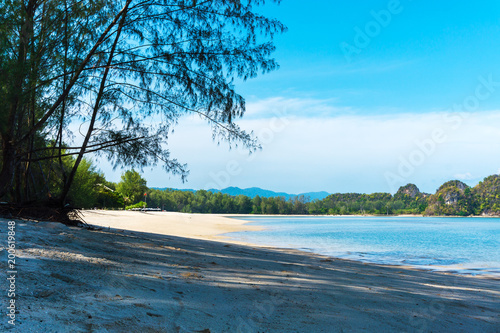 Fotobehang Groen blauw Tropical Paradise and white sand on deserted beach with trees in beautiful lagoon on Langkawi island, Malaysia. Tanjung Rhu beach.