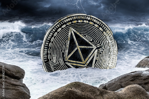 ethereum crisis crypto coin currency finance market crash concept sinking in the ocean background