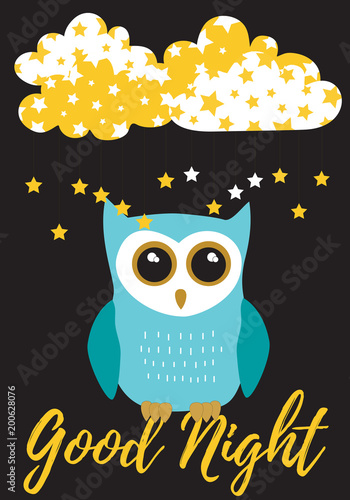 Owl Good Night in turquoise blue with black,white and gold metallic colors palette vector illustration card template on a black background with clouds and stars