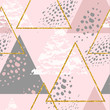 Abstract geometric seamless repeat pattern with triangles.