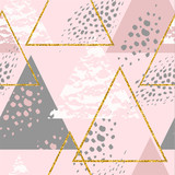 Abstract geometric seamless repeat pattern with triangles. - 200629441