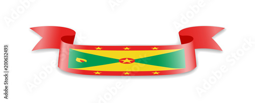 Grenada flag in the form of wave ribbon.