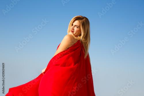 Fotobehang Cyprus Woman in red