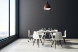 Black dining room interior