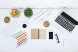 Modern white workspace with items