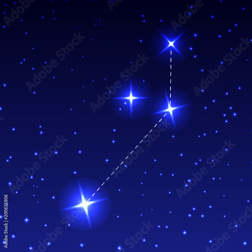 The Constellation Of The Painter in the night starry sky. Vector illustration of the concept of astronomy.