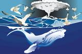 Une baleine et des mouettes jouent près d'un volcan