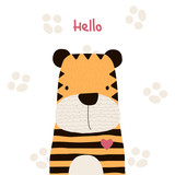 Cute little tiger with lettering. Vector hand drawn illustration. - 200637433