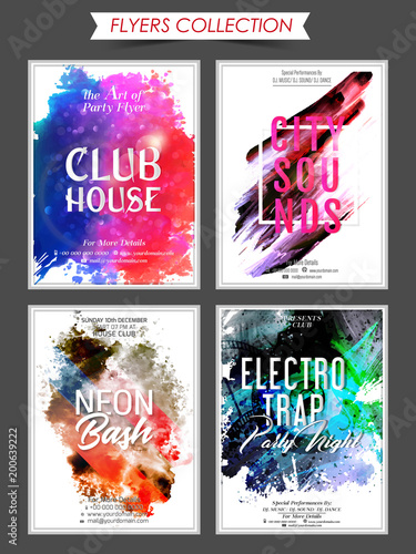 beautiful set of 4 party brochures or poster with creative design illustration.