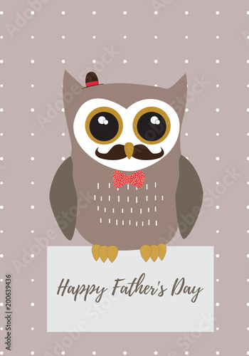 Owl Happy Father's Day in brown with black,white and gold metallic colors palette vector illustration card template on a dot pattern background