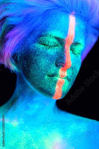 Model Young Beautiful Portrait In Studio Makeup Neon Colors Ultraviolet Lamp