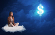 Caucasian woman sitting ona white fluffy cloud daydreaming of money - 200646254