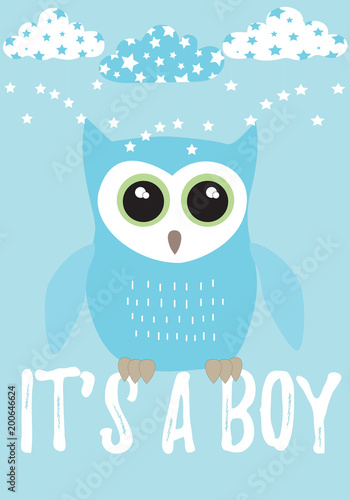 Owl It's a boy card in turquoise blue with black,white and green colors palette vector illustration template on a blue background with clouds and stars