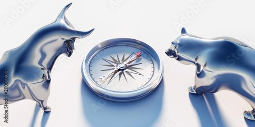 Silberner Bulle und Bär mit Kompass