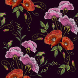 Beautiful bouquet of spring flowers, poppies classic embroidery seamless background for clothes. Pink flowers and poppies embroidery seamless pattern - 200654435