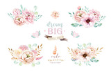 Isolated cute watercolor bouquets clipart with flowers. Nursery unicorns illustration. Princess rainbow poster. bouquet trendy pink color. - 200662041