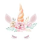 Isolated cute watercolor unicorn clipart with flowers. Nursery unicorns illustration. Princess rainbow poster. Trendy pink cartoon pony horse. - 200662499