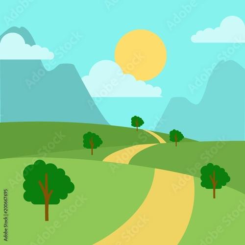 Foto op Plexiglas Lichtblauw Sunny day landscape illustration