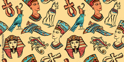 Ancient Egypt art pattern. Classic flash tattoo style Egypt, patches and stickers. Ancient Egypt vintage seamless pattern, old school tattoo. Pharaoh, ankh, eye Ra, Nefertiti, cat