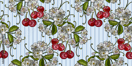 Template for clothes, textiles, t-shirt design vector. Embroidery cherry blossom tree and cherry fruit berry seamless pattern