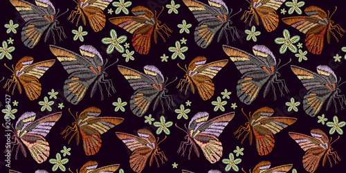Beautiful vintage butterflies classical embroidery seamless background template for clothes, textiles, t-shirt design. Butterflies and flowers embroidery seamless pattern