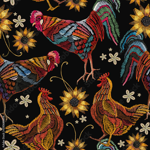 Beautiful rooster and chicken, classical embroidery seamless pattern. Embroidery chicken, rooster and sunflowers seamless pattern fashion template for clothes, textiles, t-shirt design