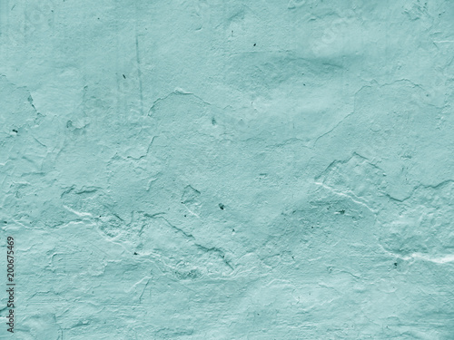Empty wall of plaster. Color of Tiffany