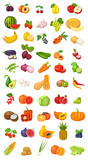 Vector berries, fruits and vegetables icon collection isolated on white. Flat cartoon illustration with natural and environmentally friendly tropical and exotic