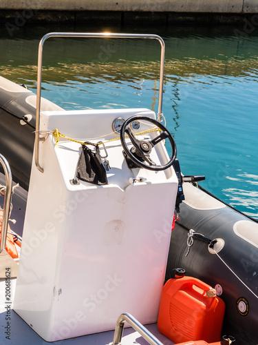 Foto op Plexiglas Schip old recreating boat bridge