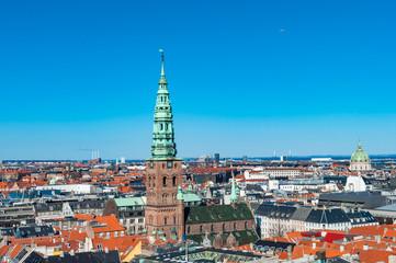 Aerial view over city of Copenhagen