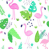 Tropical Seamless Pattern with Cute Flamingo and Palm Leaves. Childish Summer Background for Wallpaper, Fabric, Wrapping Paper, Decoration. Vector illustration - 200682425