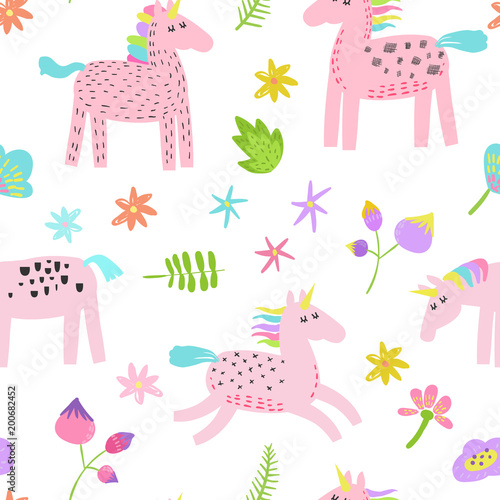 Materiał do szycia Seamless Pattern with Magic Unicorns and Tropical Flowers. Childish Fairytale Background for Fabric Textile, Wallpaper, Wrapping Paper, Decoration. Vector illustration