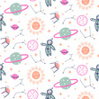 Stars and planets seamless vector pattern. - 200685456