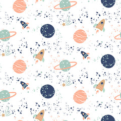Seamless vector pattern with planets and spaceships.