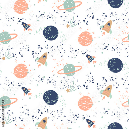 Seamless vector pattern with planets and spaceships. - 200685450