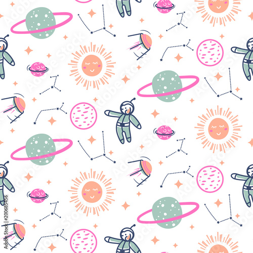 Stars and planets seamless vector pattern.