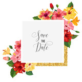 Wedding Invitation Template with Red Hibiscus Flowers and Golden Frame. Save the Date Floral Card for Greetings, Anniversary, Birthday, Baby Shower Party. Botanical Design. Vector illustration
