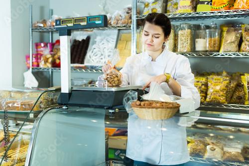 Girl svendor sells cookies