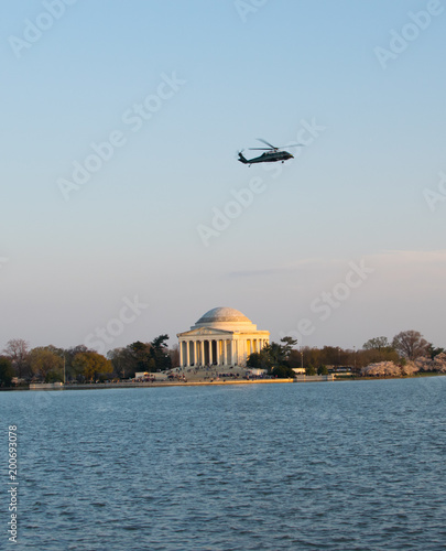 Cherry Blossom and Jefferson Memorial with Helicopter