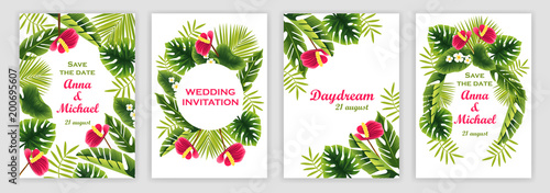 Szablony zaproszeń ślubnych z tropikalnym wzorem. tropikalne rośliny i kwiaty. ilustracji wektorowych