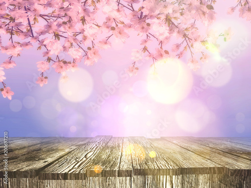Plexiglas Lichtroze 3D old wooden table with a cherry blossom background