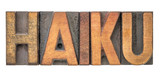 haiku word in vintage wood type