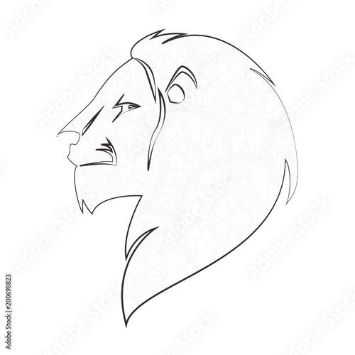 lion profile emblem icon vector illustration design
