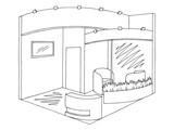 Exhibition stand graphic interior black white sketch illustration vector - 200712831