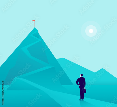 Foto Spatwand Lichtblauw Vector business concept illustration with businessman standing at mountain peak and watching on top. Metaphor for new aims and goals, purposes, achievements and aspirations, motivation.